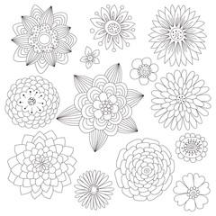 Set of black and white doodle flowers. Set of floral design elements.