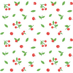 Seamless pattern with cranberries and leaves