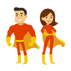 Superhero man and woman