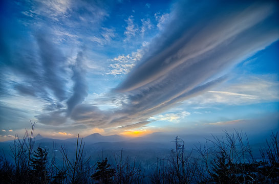 Dramatic Skies Great Smoky Mountains NC at sunset in winter