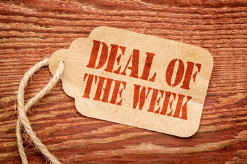 deal of the week sign on price tag