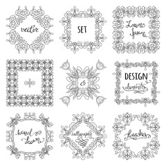 Vector set of hand-drawn calligraphic frames.