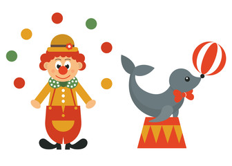clown in hat and balls and seal animal