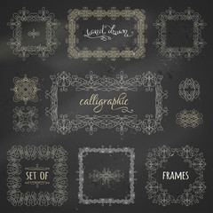 Vector set of chalk calligraphic frames.