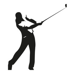 Golf player isolated illustration, vector silhouette