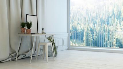 Minimalist white living room interior