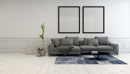 Minimalist grey and white living room interior