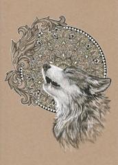 Howling wolf, dog on the background of the mandala