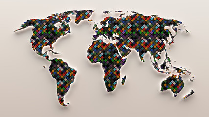 3d Mosaic colored world map