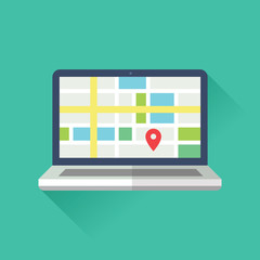 Flat GEO Location Website Illustration