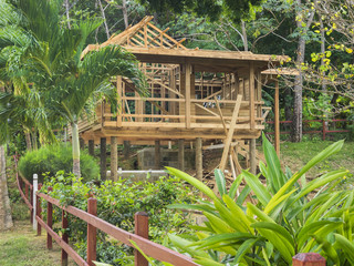 New small home construction on an island in the tropics