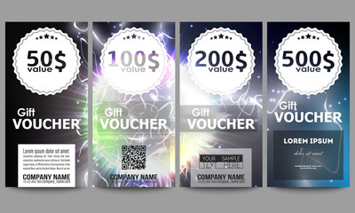 Set of modern gift voucher templates. Electric lighting effect. Magic vector background with lightning