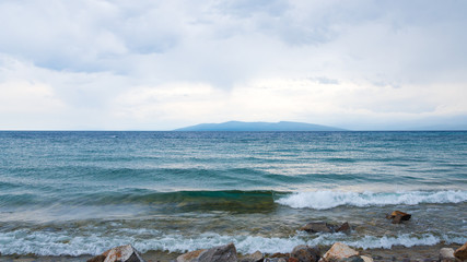 View of the peninsula Dolon, Lake Hovsgol