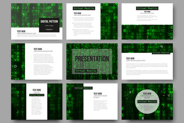Set of 9 templates for presentation slides. Virtual reality, abstract technology background with green symbols, vector illustration