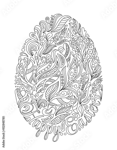 Easter Egg With Pattern In Zentangle Style Coloring Book For Adult And Older Children