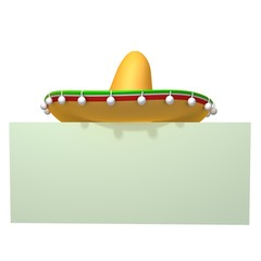 Mexican hat sombrero 3d illistration