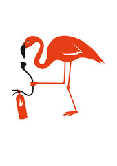 Elegant fragile bird. Funny vector illustration. Cartoon character flamingo.