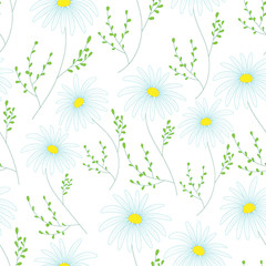 Floral seamless pattern with delicate flowers, hand-drawing. Vector illustration. Daisy Themed Repeating Pattern