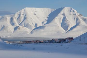 Mountains tower over Longyearbyen, Spitsbergen (Svalbard). Norway
