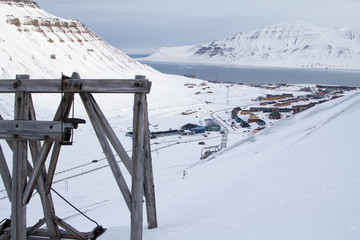 City view from old abandoned coal mine. Longyearbyen, Spitsbergen