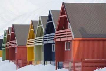 Residental houses in Longyearbyen, Spitsbergen (Svalbard). Norway