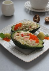 Salad from prawn and avocado