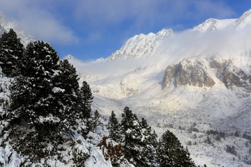 Nice valley in winter mountains