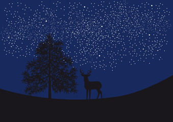 Deer under the starry sky. Night landscape with deer, trees and countless stars. Vector illustration of landscape.
