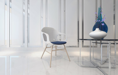 Simple chair and table with glassware