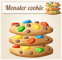 Monster cookies. Detailed vector icon