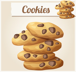 Choc chip cookies 2. Detailed vector icon