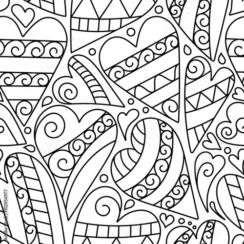 Hand Drawn Artistically Ethnic Ornamental Seamless Pattern With Heart And Romantic Doodle Elements Of St Valentines Day Zentangle Vector Illustration