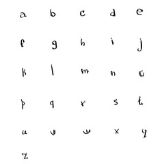 Alphabet Small Letters Collection Sketch Hand Drawn Set