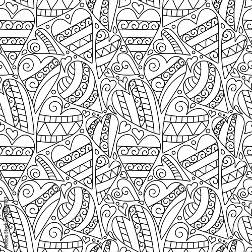 Hand Drawn Artistically Ethnic Ornamental Seamless Pattern With Heart And Romantic Doodle Elements Of St