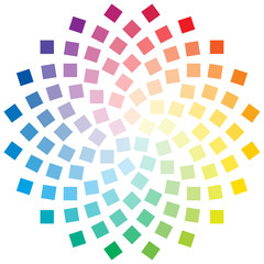 Color wheel composed of square elements on white background