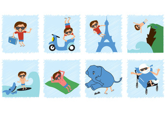 Funny comic with a careless guy. Picture story about a summer vacation. Funny vector illustration. Humorous illustration of a travel. An example of what not to do on holiday