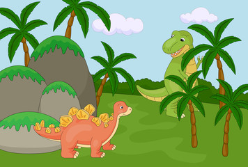 Wall Murals Dinosaurs Funny cute tyrannosaurus and spinosaurus on the background of a