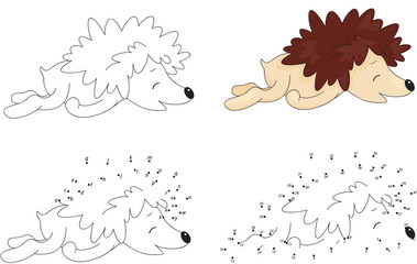 Cartoon hedgehog sleeping. Coloring book and dot to dot game for