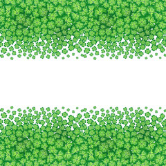 St. Patrick's day card, clover borders with hand - drawn floral ornaments on white background