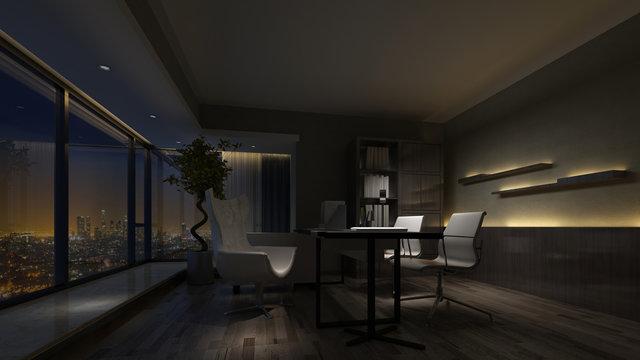 Darkened empty interior of a home office