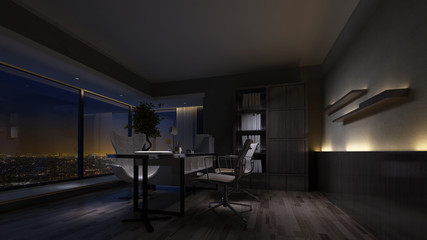 Night view of an empty home office interior