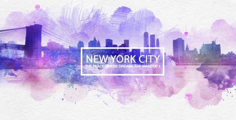 Purple New York City Dreams Postcard Painting