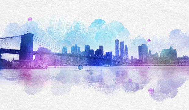Blank New York City watercolor postcard