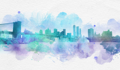 New York City watercolor postcard with copy space