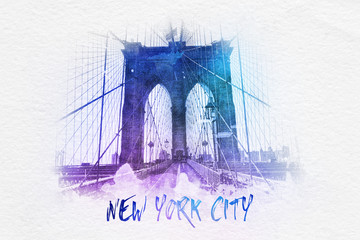 Brooklyn bridge with New York City text