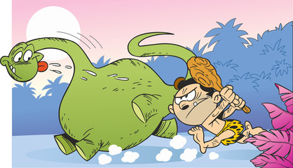 The illustration shows ancient man who hunts on dinosaur. Illustration done in cartoon comic style.