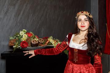 Beautiful brunette girl in Princess costume