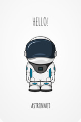 Hand drawn cartoon astronaut in space suit. One died. Line art cosmic vector illustration cosmonaut who stand alone. Concept hello world.