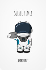 Vector illustration of cosmonaut with smartphone in hand. Design concept. photos myself. selfie time.  character.