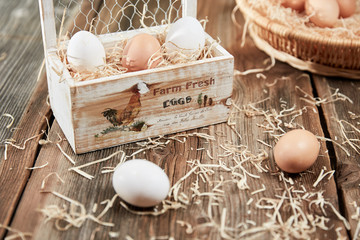 Farm fresh eggs in a box